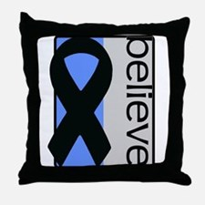 Blue and Silver (Believe) Ribbon Throw Pillow
