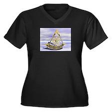 Past Master Women's Plus Size V-Neck Dark T-Shirt