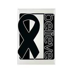 Black White Black (Believe) Ribbon Rectangle Magne