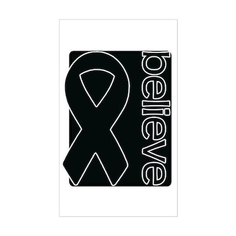 Black (Believe) Ribbon Rectangle Sticker
