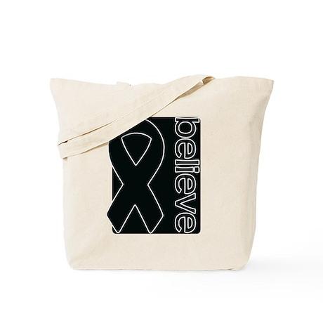 Black (Believe) Ribbon Tote Bag