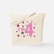 """I'm 4"" Pink & Brown Flowers Tote Bag"