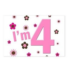 """""""I'm 4"""" Pink & Brown Flowers Postcards (Package of"""