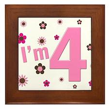 """""""I'm 4"""" Pink & Brown Flowers Framed Tile"""