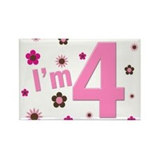 """I'm 4"" Pink & Brown Flowers Rectangle Magnet"