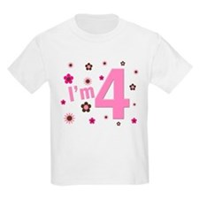 """I'm 4"" Pink & Brown Flowers T-Shirt"
