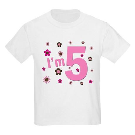"""I'm 5"" Pink & Brown Flowers Kids Light T-Shirt"