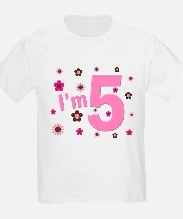 """I'm 5"" Pink & Brown Flowers T-Shirt"
