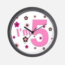 """I'm 5"" Pink & Brown Flowers Wall Clock"