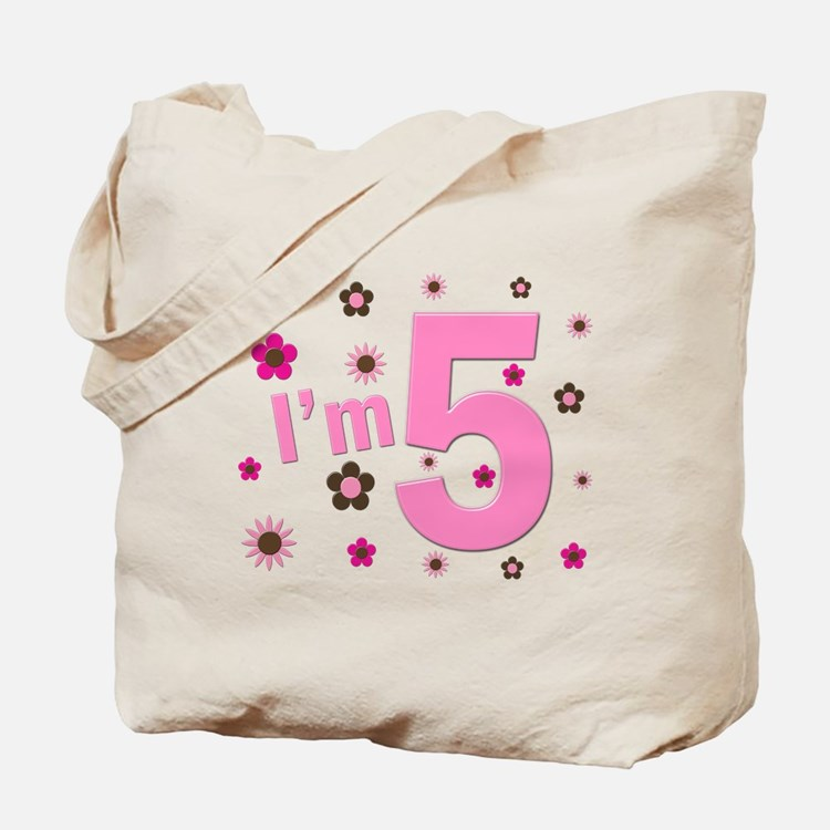 """I'm 5"" Pink & Brown Flowers Tote Bag"