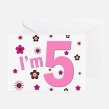 """""""I'm 5"""" Pink & Brown Flowers Greeting Card"""