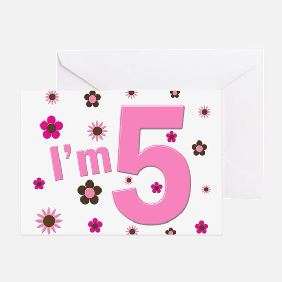 """I'm 5"" Pink & Brown Flowers Greeting Card"