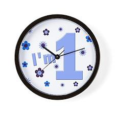 """I'm 1"" Blue Flowers Wall Clock"