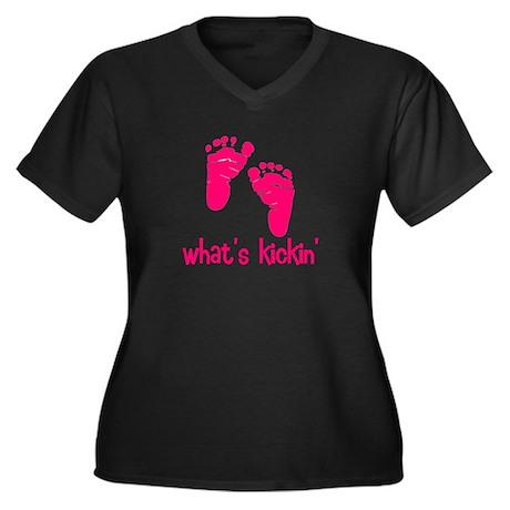 What's kickin pink Women's Plus Size V-Neck Dark T