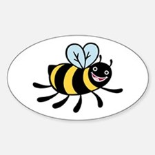 Happy Bee Oval Decal