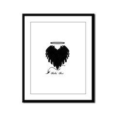 Black Heart Wings Framed Panel Print