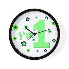 """I'm 1"" Green Flowers Wall Clock"