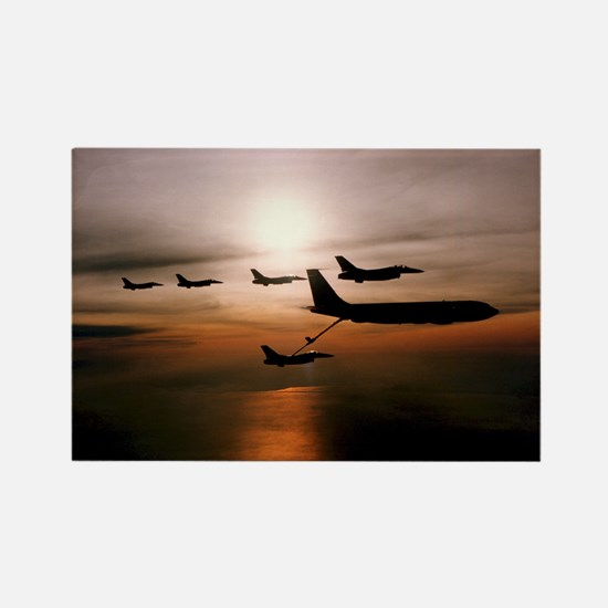 F-16 Falcons Refueling Rectangle Magnet