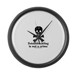 Swashbuckling Not A Crime Large Wall Clock