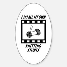 Knitting Stunts Oval Decal