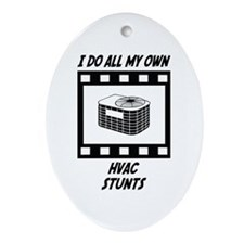 HVAC Stunts Oval Ornament