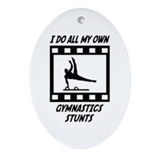 Gymnastics Stunts Oval Ornament