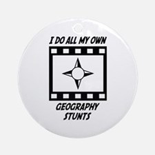 Geography Stunts Ornament (Round)