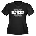 SI Slovenia Women's Plus Size V-Neck Dark T-Shirt