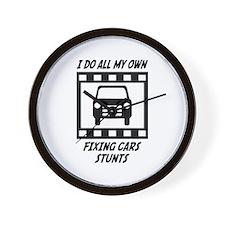 Fixing Cars Stunts Wall Clock