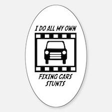 Fixing Cars Stunts Oval Sticker (10 pk)