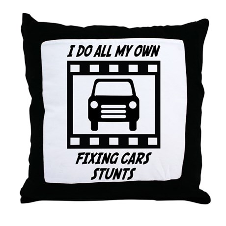 Fixing Cars Stunts Throw Pillow