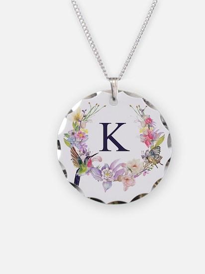 Hummingbird Floral Wreath Monogram Necklace