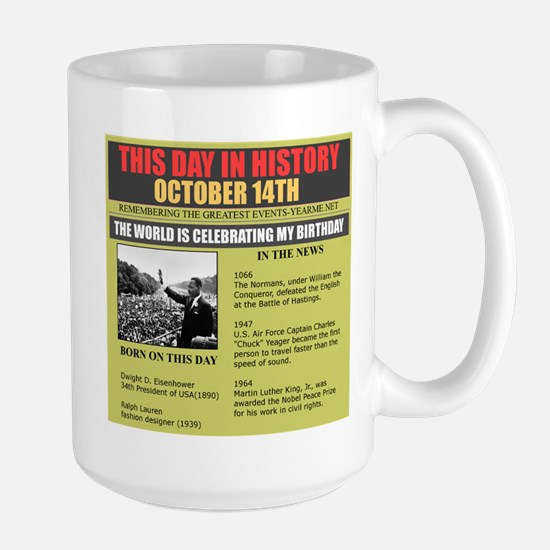 born on october 14th Large Mug