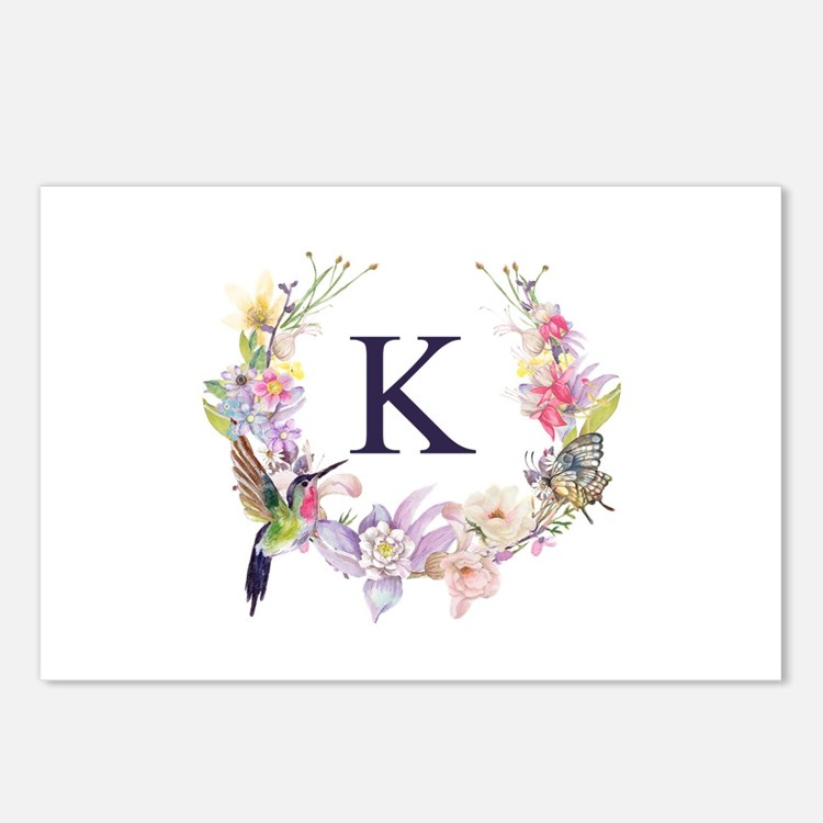 Hummingbird Floral Wreath Monogram Postcards (Pack