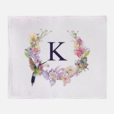 Hummingbird Floral Wreath Monogram Throw Blanket