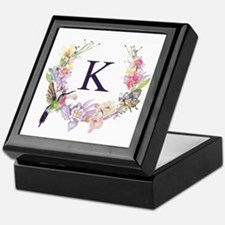 Hummingbird Floral Wreath Monogram Keepsake Box