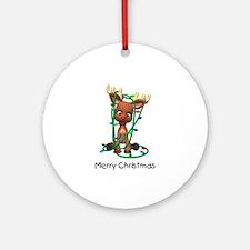 Merry Christmas (Reindeer) Ornament (Round)
