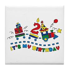 Choo Choo Second Birthday Tile Coaster