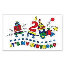 Choo Choo Second Birthday Rectangle Decal