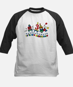 Choo Choo Third Birthday Kids Baseball Jersey