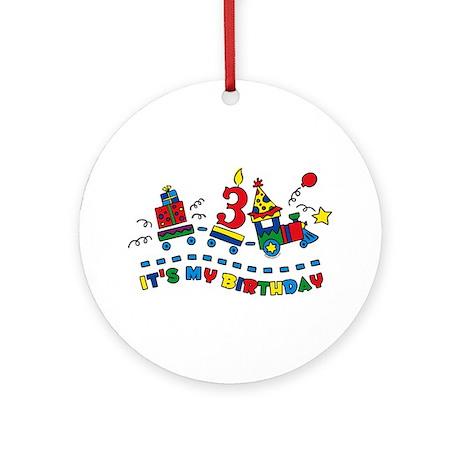 Choo Choo Third Birthday Ornament (Round)