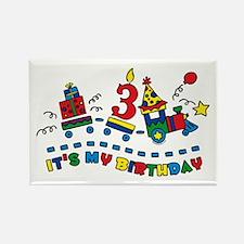 Choo Choo Third Birthday Rectangle Magnet