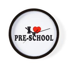 I Heart/Love Pre-School Wall Clock