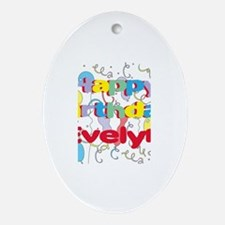 Happy Birthday Evelyn Oval Ornament