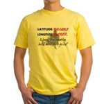 Snowmbobiling Latitude/Longitude Yellow T-Shirt