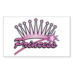Pink Princess Crown Rectangle Sticker
