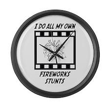 Fireworks Stunts Large Wall Clock