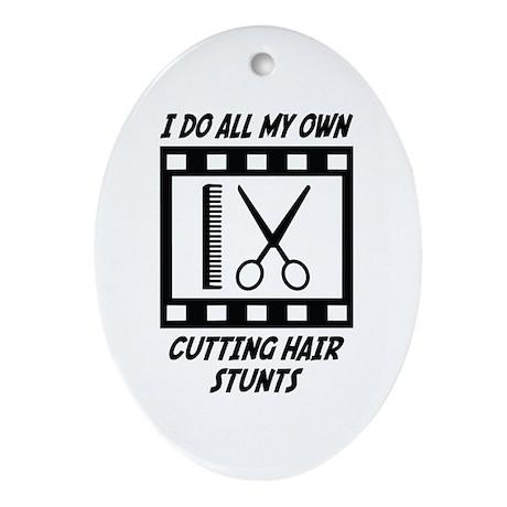 Cutting Hair Stunts Oval Ornament