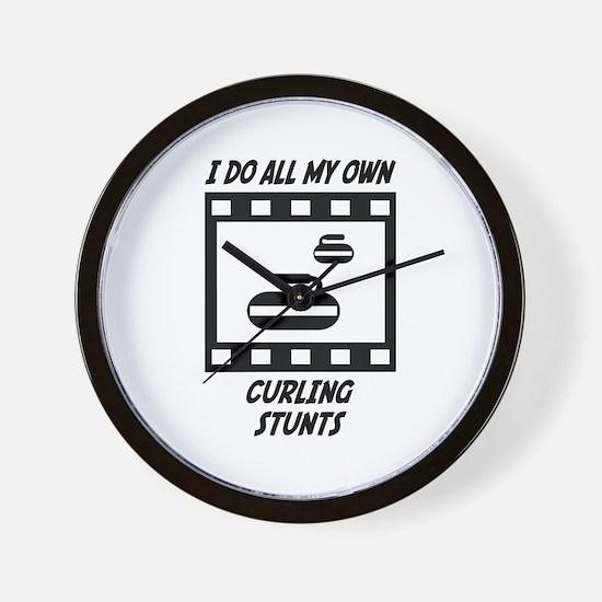 Curling Stunts Wall Clock