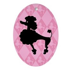Poodle in Pink Oval Ornament